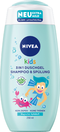 NIVEA Kids 3in1 Douchegel, Shampoo & Conditioner Appelgeur 250 ml