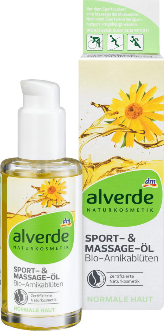 Alverde Sport Massage Oil Arnica Flowers 100ml Bottle